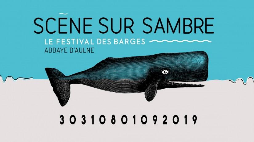 Visuel du festival Scène Sur Sambre: une baleine entourée d'ondes musicales