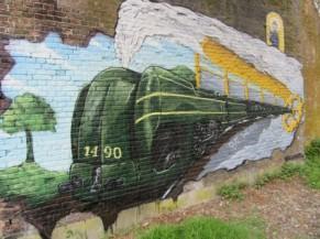 Fresque murale d'un train