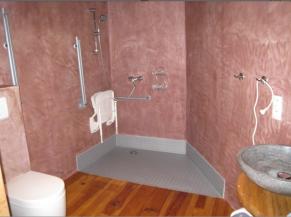 Salle de douche adaptée