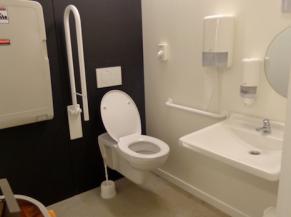 Toilette adptée au sous-sol avec lavabo dans l'aire de rotation
