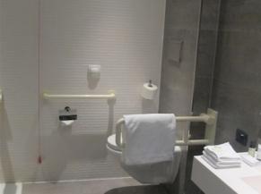 Toilette dans la salle de douche PMR
