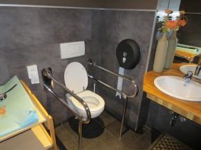 Intérieur du sanitaire adapté avec lavabo