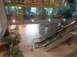 Accès à l'étage (où se déroule la vaccination) soit via escalator et escaliers